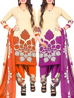 multi colored unstitched combo suit - 15345106 - Standard Image - 1