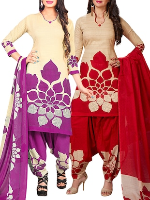 multi colored unstitched combo suit - 15345113 - Standard Image - 1