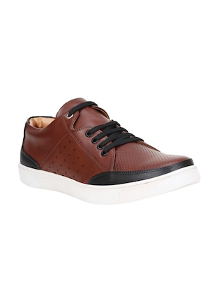 black leatherette lace up sneaker - 15345269 - Standard Image - 1