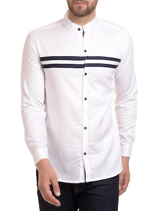white cotton blend casual shirt - 15345509 - Standard Image - 1