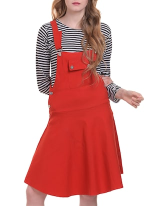 flared patch pocket dungaree dress - 15345553 - Standard Image - 1