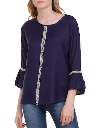 Lace trim flute sleeved top - 15345593 - Standard Image - 1