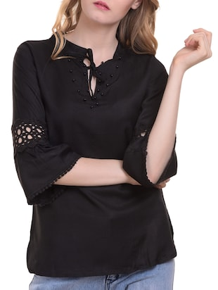 Lace trim flute sleeved top - 15345598 - Standard Image - 1