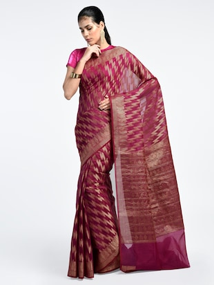 chevron zari motif Banarasi Saree with blouse - 15345757 - Standard Image - 1