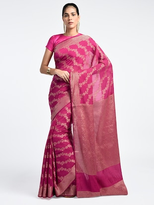 Zari Work Banarasi Saree with blouse - 15345778 - Standard Image - 1
