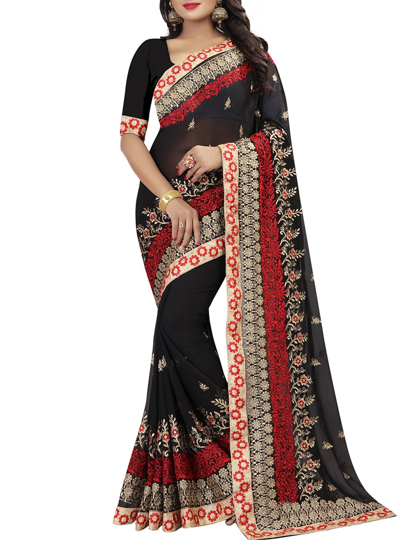 Buy Resham Zari Embroidery Work Saree With Blouse By Aadya Couture