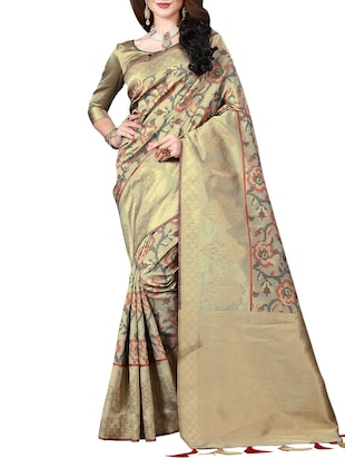 zari woven banarasi silk saree with blouse - 15345837 - Standard Image - 1