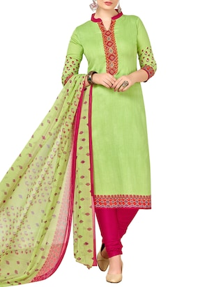 Printed unstitched churidaar suit - 15345883 - Standard Image - 1