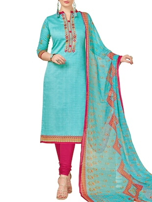 Embroidered unstitched churidaar suit - 15345885 - Standard Image - 1