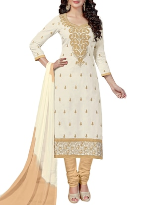 Embroidered unstitched churidaar suit - 15346607 - Standard Image - 1