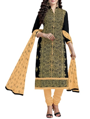 Embroidered unstitched churidaar suit - 15346609 - Standard Image - 1