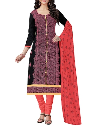 Embroidered unstitched churidaar suit - 15346612 - Standard Image - 1