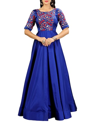 blue silk flared gown - 15346878 - Standard Image - 1