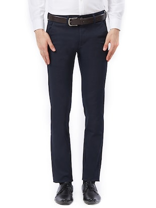 blue cotton flat front formal trouser - 15347298 - Standard Image - 1