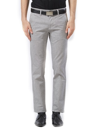 grey cotton flat front formal trouser - 15347303 - Standard Image - 1