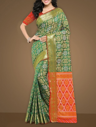 jacquard work patola green saree with blouse - 15347388 - Standard Image - 1