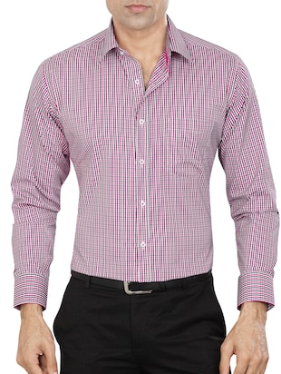 pink polyester blend formal shirt - 15347858 - Standard Image - 1