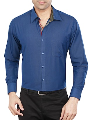blue polyester blend formal shirt - 15348002 - Standard Image - 1