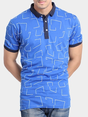 blue cotton all over print  t-shirt - 15348152 - Standard Image - 1
