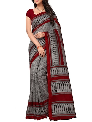 Contrast bordered bhagalpuri saree with blouse - 15348507 - Standard Image - 1