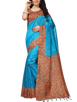 Contrast bordered mysore silk saree with blouse - 15348518 - Standard Image - 1