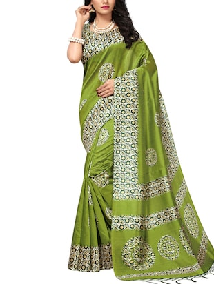 Contrast bordered mysore silk saree with blouse - 15348521 - Standard Image - 1