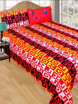140 TC Cotton Double Bedsheet with 2 Pillow Covers - 15349167 - Standard Image - 1