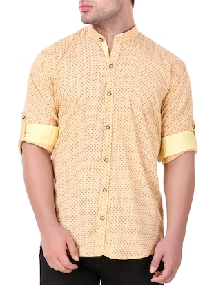 yellow cotton casual shirt - 15349191 - Standard Image - 1
