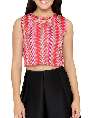 chevron key hole neck crop top - 15349239 - Standard Image - 1