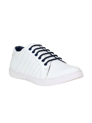 white leatherette lace up sneaker - 15350351 - Standard Image - 1