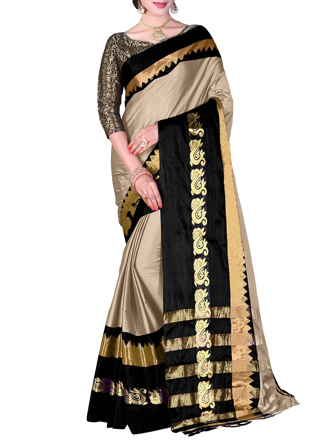 99947acdebb7a7 ... contrast zari border saree with tassels with blouse - 15354571 - Zoom  Image - 1
