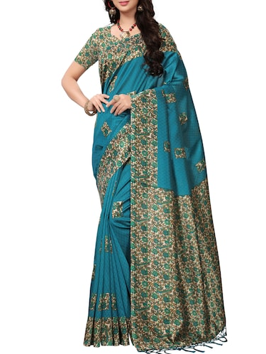 Contrast bordered Mysore Silk saree with blouse - 15371954 - Standard Image - 1