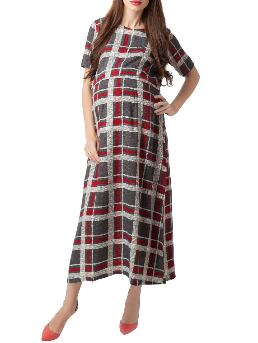 046de569113 ... Checkered textured maternity wear dress - 15376022 - Zoom Image - 1