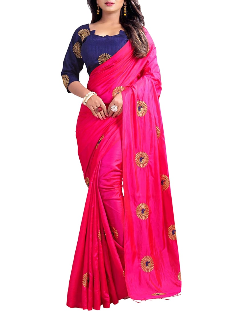 Buy Peacock Embroidered Saree With Tassels With Blouse By Greenvilla
