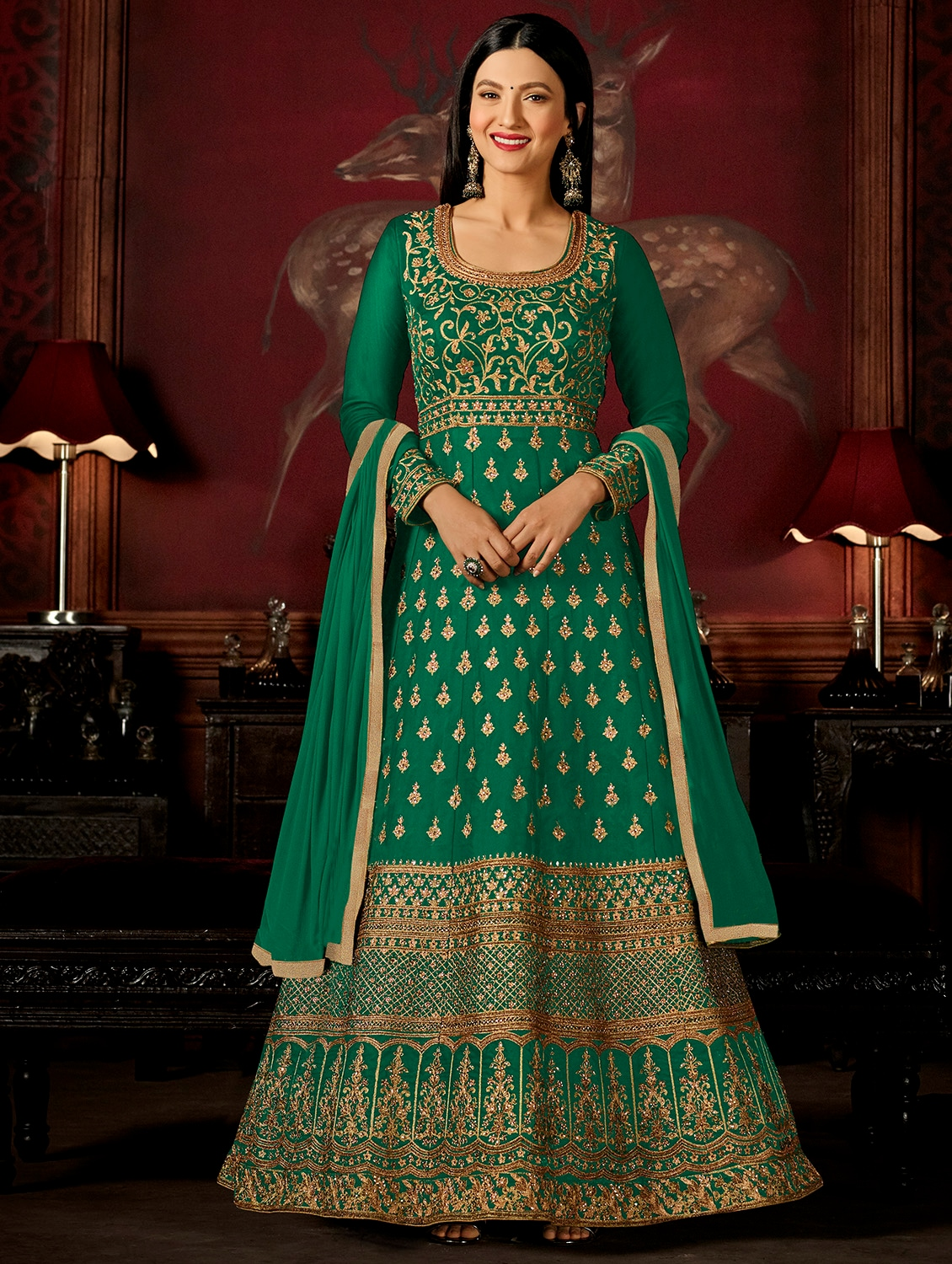 c0a278a6a87 ... Embroidered semi-stitched anarkali suit - 15383891 - Zoom Image - 1