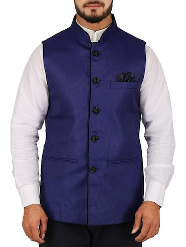 blue cotton blend nehru jacket - 15385843 - Standard Image - 1