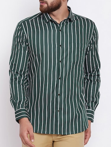green cotton casual shirt - 15386666 - Standard Image - 1