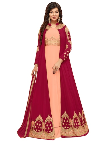 Embroidered semi-stitched layered suit - 15388338 - Standard Image - 1