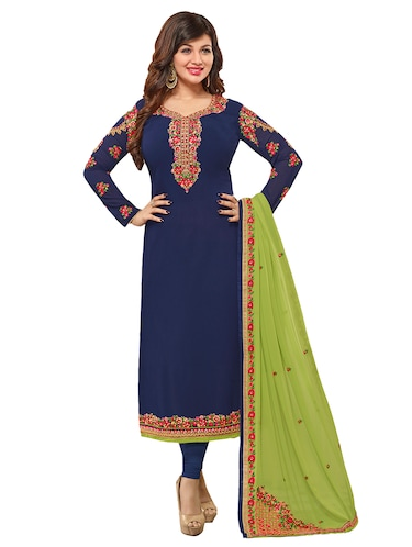 Embroidered semi-stitched churidaar suit - 15388356 - Standard Image - 1