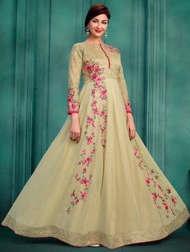 Embroidered semi-stitched anarkali suit - 15388365 - Standard Image - 1
