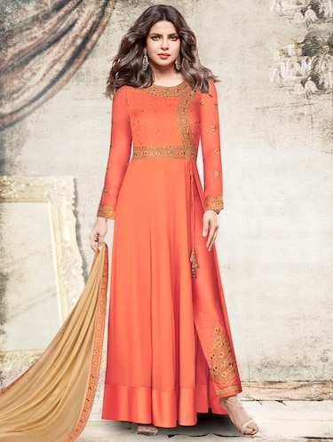Embroidered semi-stitched straight pant suit - 15388487 - Standard Image - 1