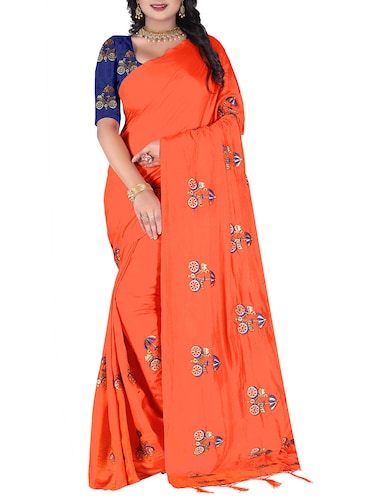 conversational embroidered saree with tassels with blouse - 15400037 - Standard Image - 1