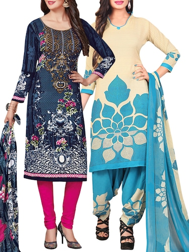 Printed unstitched combo suit - 15400929 - Standard Image - 1