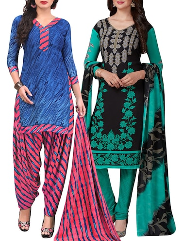 Printed unstitched combo suit - 15400954 - Standard Image - 1