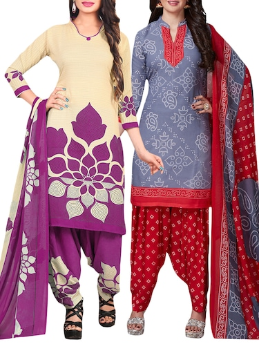 Printed unstitched combo suit - 15401084 - Standard Image - 1