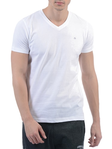 white cotton blend t-shirt - 15406590 - Standard Image - 1