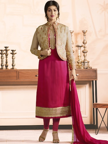Embroidered semi-stitched churidaar suit - 15410234 - Standard Image - 1