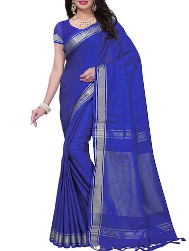 Linen maheshwari saree with blouse - 15410847 - Standard Image - 1