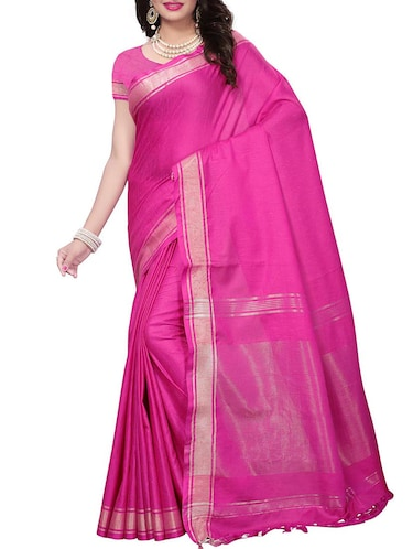 Linen maheshwari saree with blouse - 15410849 - Standard Image - 1