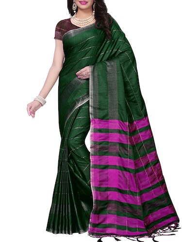 Linen Checkered woven saree with blouse - 15410863 - Standard Image - 1